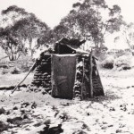 Toilet Spencers Hut 1943 Built with sods and note snow on ground