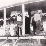 George Oddy, Jack Agnew and Alvy Oddy at what is now known as Long Plain Homestead   C 1937 – 1939.  Note rabbit skins hanging to dry